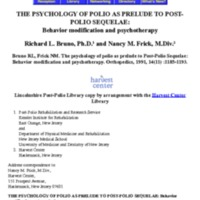 The Psychology of Polio as Prelude to Post-Polio Sequelae: Behaviour Modification and Psychotherapy